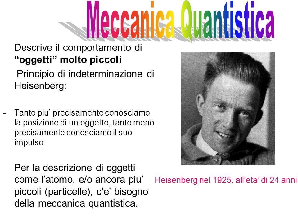 Descrive il comportamento di oggetti molto piccoli Principio di indeterminazione di Heisenberg: -Tanto piu' precisamente conosciamo la posizione di un oggetto, tanto meno precisamente conosciamo il suo impulso Per la descrizione di oggetti come l'atomo, e/o ancora piu' piccoli (particelle), c'e' bisogno della meccanica quantistica.