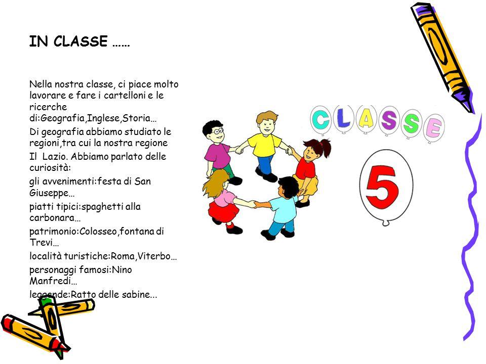 IN CLASSE …… Nella nostra classe, ci piace molto lavorare e fare i cartelloni e le ricerche di:Geografia,Inglese,Storia… Di geografia abbiamo studiato