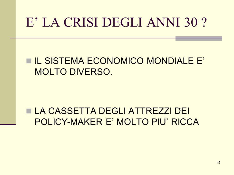 15 E' LA CRISI DEGLI ANNI 30 . IL SISTEMA ECONOMICO MONDIALE E' MOLTO DIVERSO.