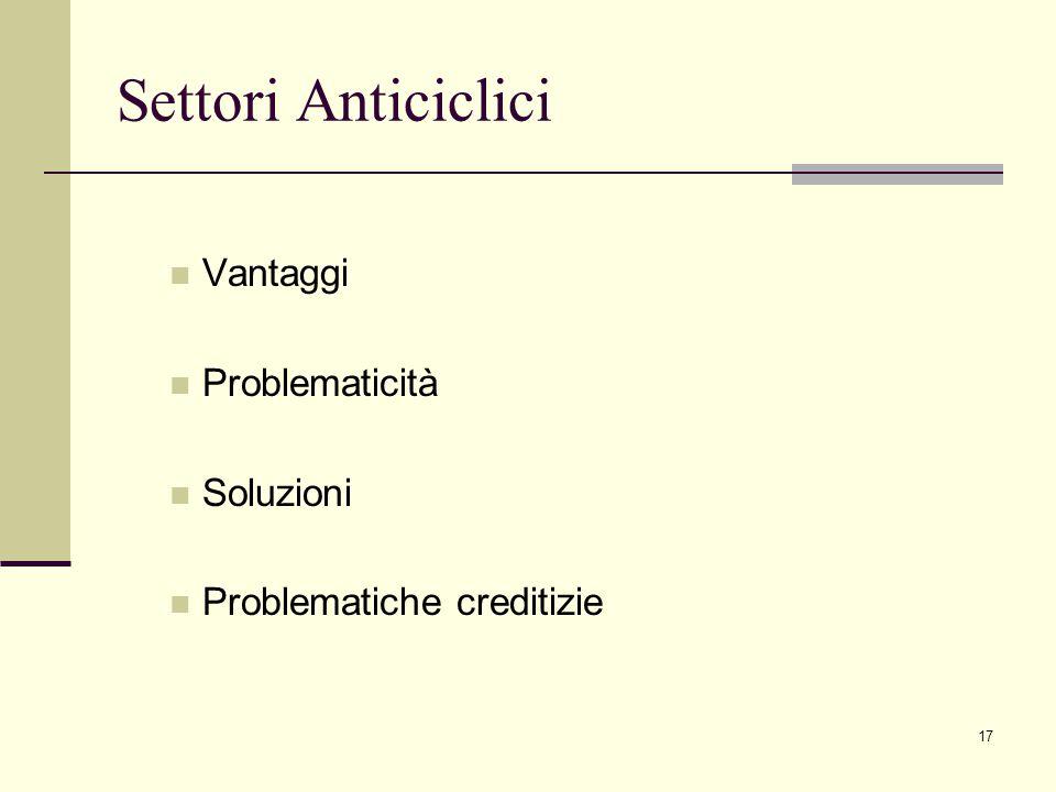17 Settori Anticiclici Vantaggi Problematicità Soluzioni Problematiche creditizie