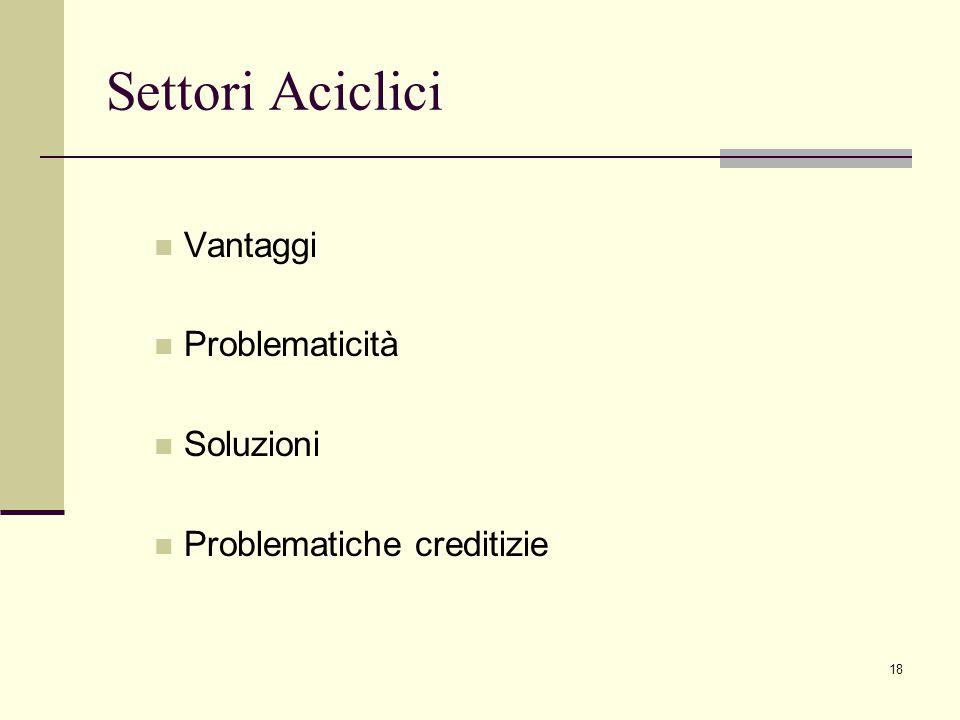 18 Settori Aciclici Vantaggi Problematicità Soluzioni Problematiche creditizie