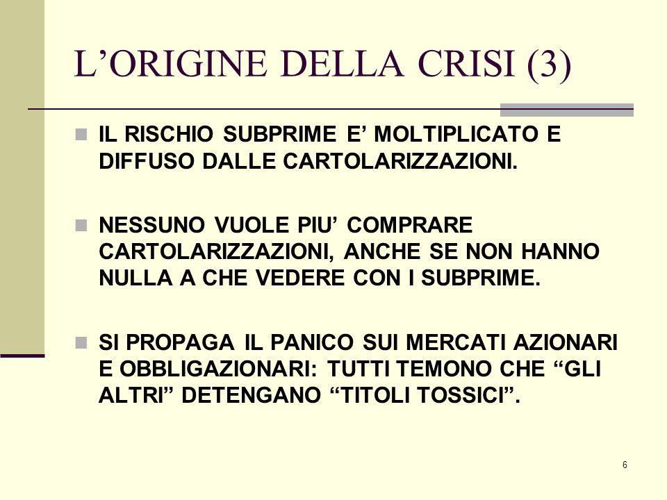 7 L'ORIGINE DELLA CRISI (4) INIZIA UN FLUSSO DI MASSICCE VENDITE SUI MERCATI AZIONARI E SU QUELLI DELLE OBBLIGAZIONI CORPORATE AD ALTO RENDIMENTO, ASSIMILATE A ABS E CDO.