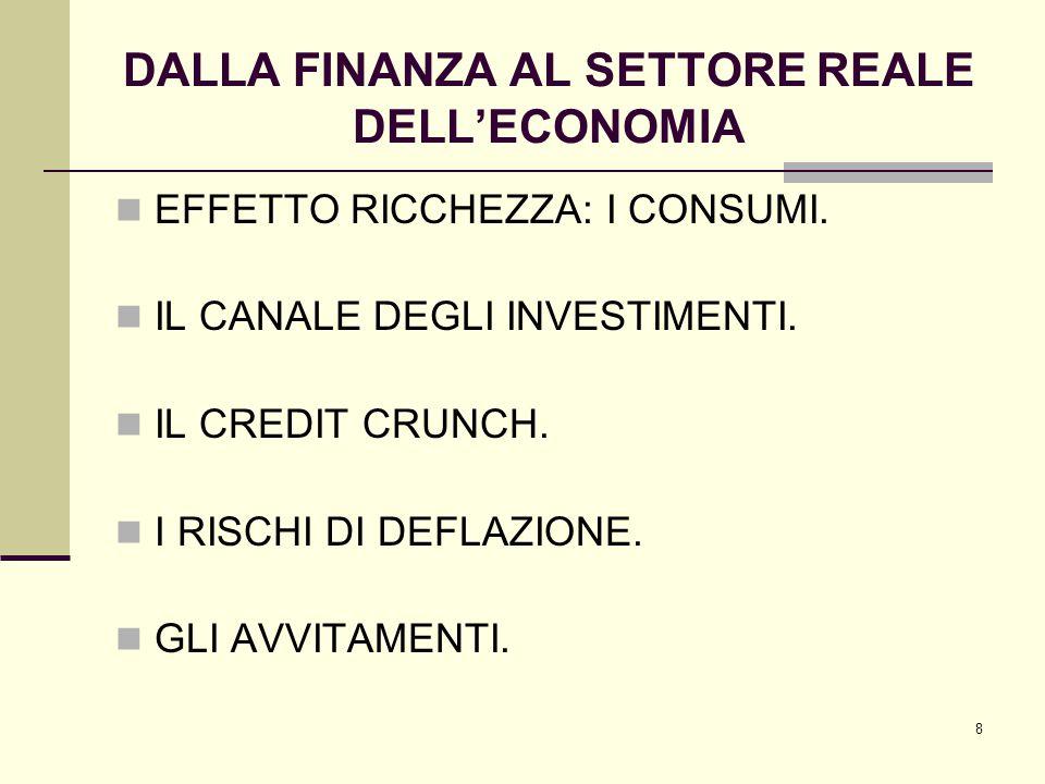 8 DALLA FINANZA AL SETTORE REALE DELL'ECONOMIA EFFETTO RICCHEZZA: I CONSUMI.