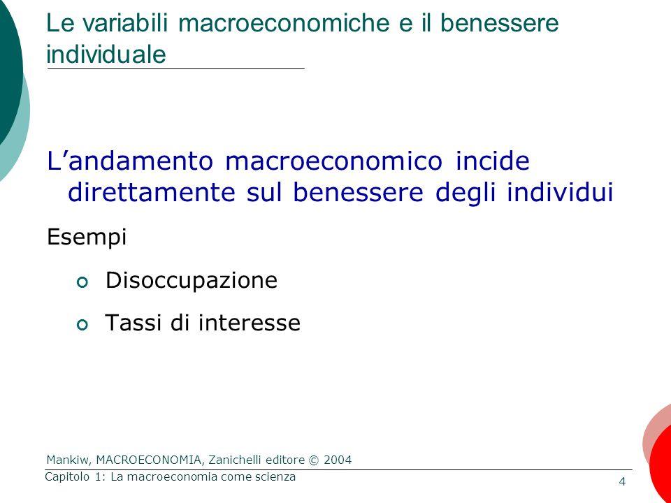 Mankiw, MACROECONOMIA, Zanichelli editore © 2004 4 Capitolo 1: La macroeconomia come scienza Le variabili macroeconomiche e il benessere individuale L'andamento macroeconomico incide direttamente sul benessere degli individui Esempi Disoccupazione Tassi di interesse