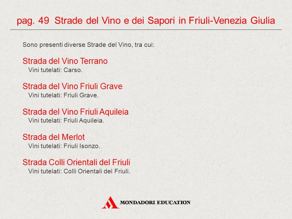 Sono presenti diverse Strade del Vino, tra cui: Strada del Vino Terrano Vini tutelati: Carso. Strada del Vino Friuli Grave Vini tutelati: Friuli Grave
