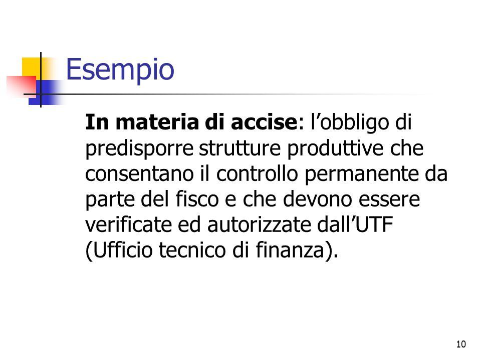 10 Esempio In materia di accise: l'obbligo di predisporre strutture produttive che consentano il controllo permanente da parte del fisco e che devono