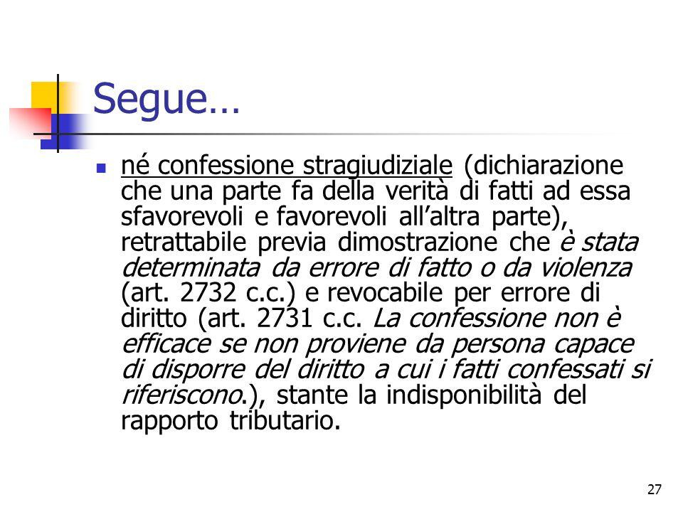 27 Segue… né confessione stragiudiziale (dichiarazione che una parte fa della verità di fatti ad essa sfavorevoli e favorevoli all'altra parte), retra