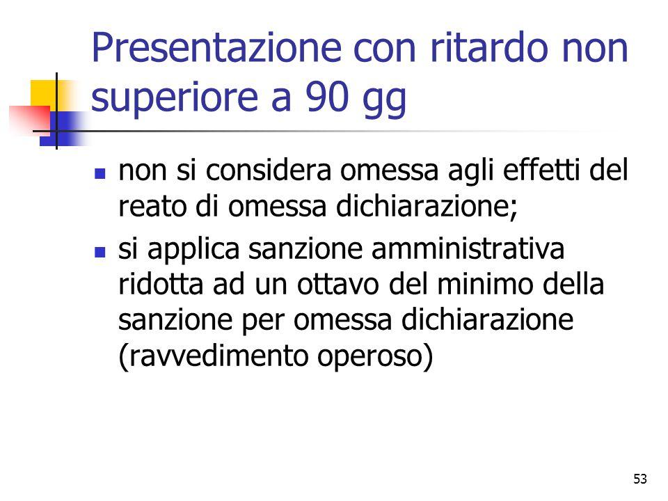 53 Presentazione con ritardo non superiore a 90 gg non si considera omessa agli effetti del reato di omessa dichiarazione; si applica sanzione amminis