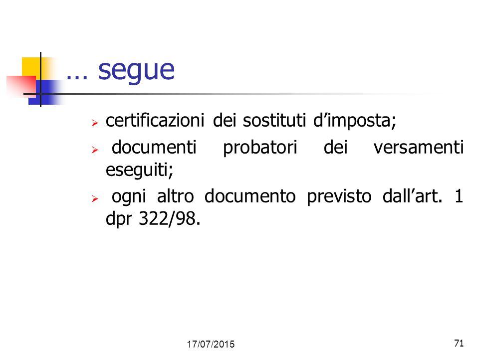71 … segue  certificazioni dei sostituti d'imposta;  documenti probatori dei versamenti eseguiti;  ogni altro documento previsto dall'art. 1 dpr 32
