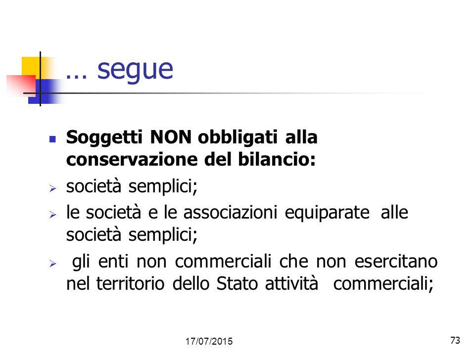 73 … segue Soggetti NON obbligati alla conservazione del bilancio:  società semplici;  le società e le associazioni equiparate alle società semplici