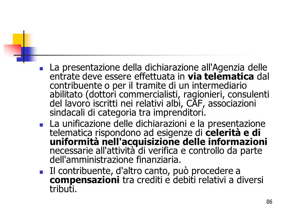 86 La presentazione della dichiarazione all'Agenzia delle entrate deve essere effettuata in via telematica dal contribuente o per il tramite di un int