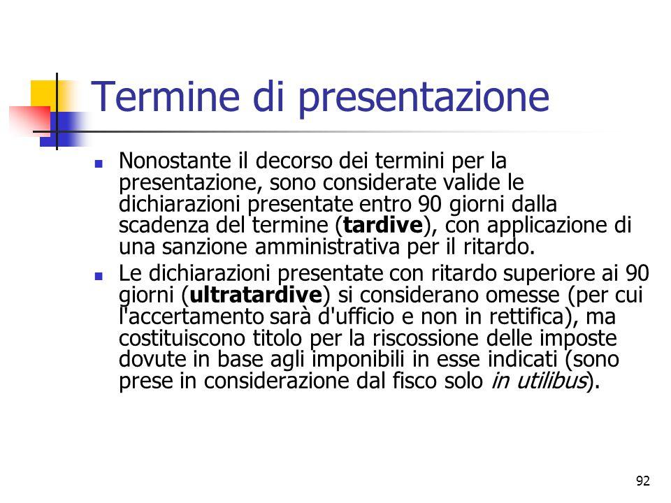 92 Termine di presentazione Nonostante il decorso dei termini per la presentazione, sono considerate valide le dichiarazioni presentate entro 90 giorn