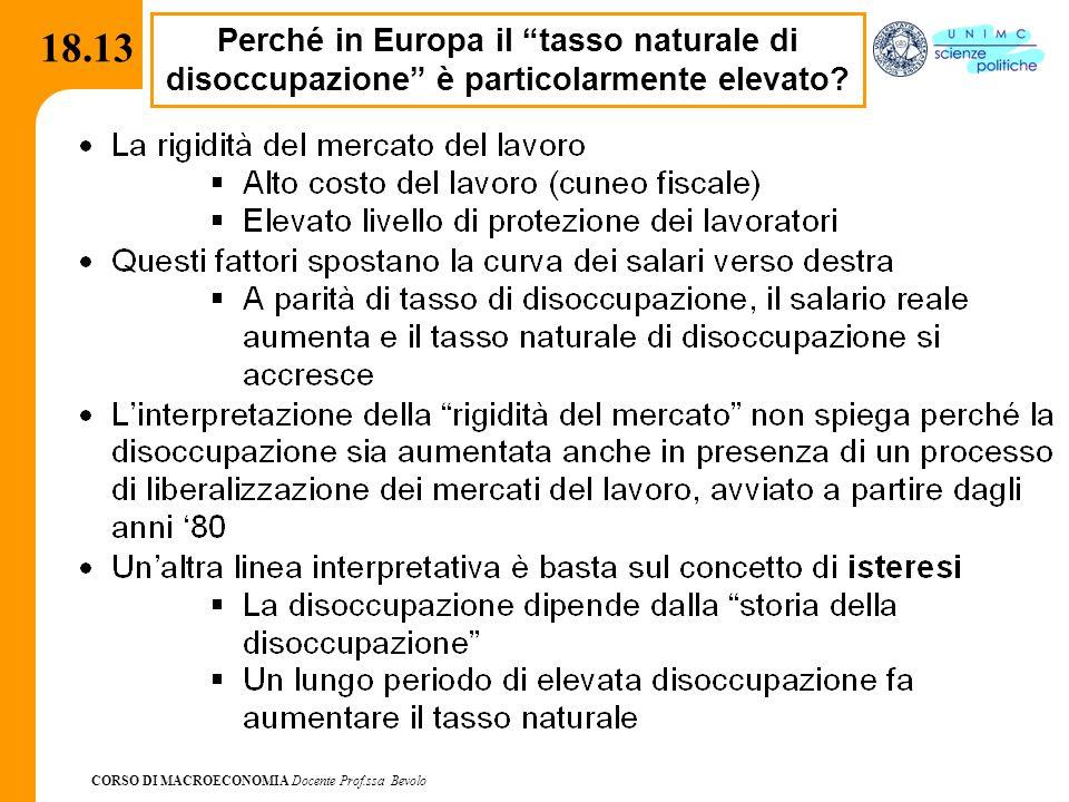 """CORSO DI MACROECONOMIA Docente Prof.ssa Bevolo 18.13 Perché in Europa il """"tasso naturale di disoccupazione"""" è particolarmente elevato?"""