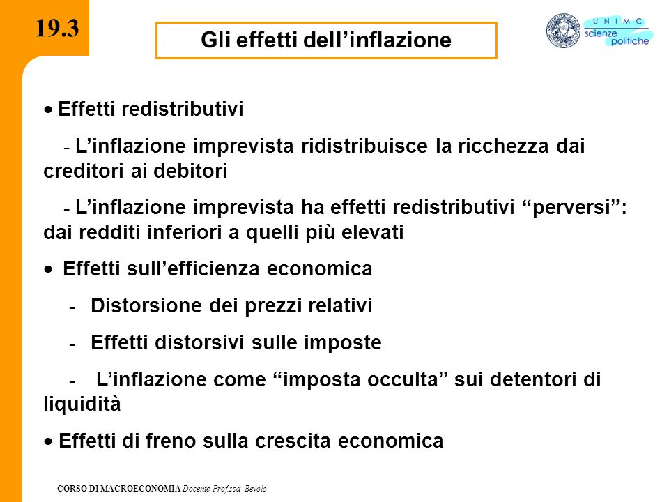 CORSO DI MACROECONOMIA Docente Prof.ssa Bevolo 19.3 Gli effetti dell'inflazione  Effetti redistributivi - L'inflazione imprevista ridistribuisce la r