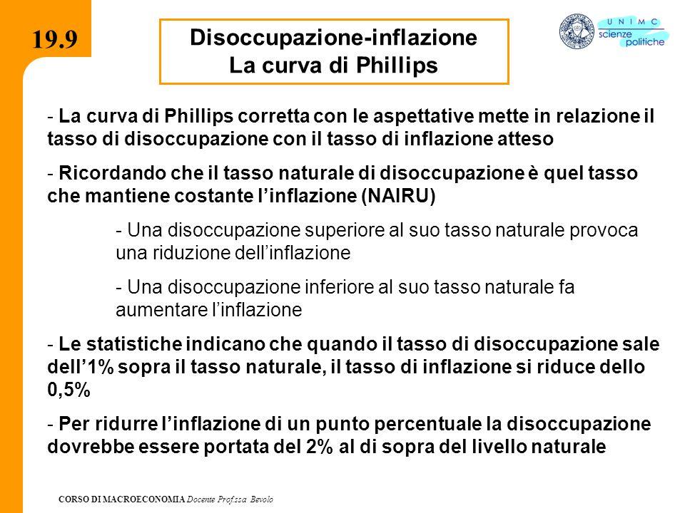 CORSO DI MACROECONOMIA Docente Prof.ssa Bevolo 19.9 Disoccupazione-inflazione La curva di Phillips - La curva di Phillips corretta con le aspettative