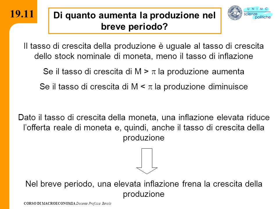 CORSO DI MACROECONOMIA Docente Prof.ssa Bevolo 19.11 Di quanto aumenta la produzione nel breve periodo? Il tasso di crescita della produzione è uguale