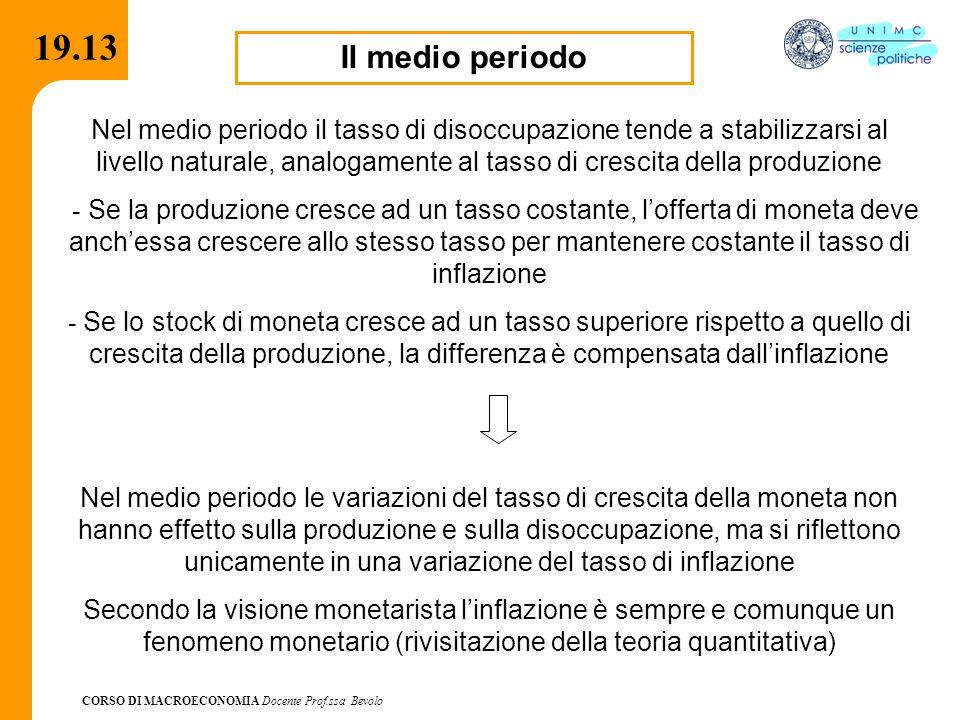 CORSO DI MACROECONOMIA Docente Prof.ssa Bevolo 19.13 Il medio periodo Nel medio periodo il tasso di disoccupazione tende a stabilizzarsi al livello na
