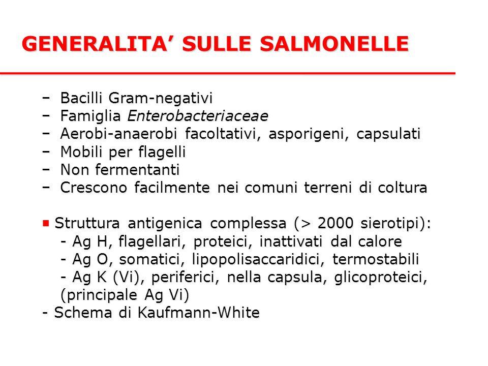 GENERALITA' SULLE SALMONELLE −Bacilli Gram-negativi −Famiglia Enterobacteriaceae −Aerobi-anaerobi facoltativi, asporigeni, capsulati −Mobili per flagelli −Non fermentanti −Crescono facilmente nei comuni terreni di coltura ■ Struttura antigenica complessa (> 2000 sierotipi): - Ag H, flagellari, proteici, inattivati dal calore - Ag O, somatici, lipopolisaccaridici, termostabili - Ag K (Vi), periferici, nella capsula, glicoproteici, (principale Ag Vi) - Schema di Kaufmann-White