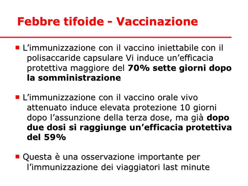 ■ L'immunizzazione con il vaccino iniettabile con il polisaccaride capsulare Vi induce un'efficacia protettiva maggiore del 70% sette giorni dopo la somministrazione ■ L'immunizzazione con il vaccino orale vivo attenuato induce elevata protezione 10 giorni dopo l'assunzione della terza dose, ma già dopo due dosi si raggiunge un'efficacia protettiva del 59% ■ Questa è una osservazione importante per l'immunizzazione dei viaggiatori last minute Febbre tifoide - Vaccinazione
