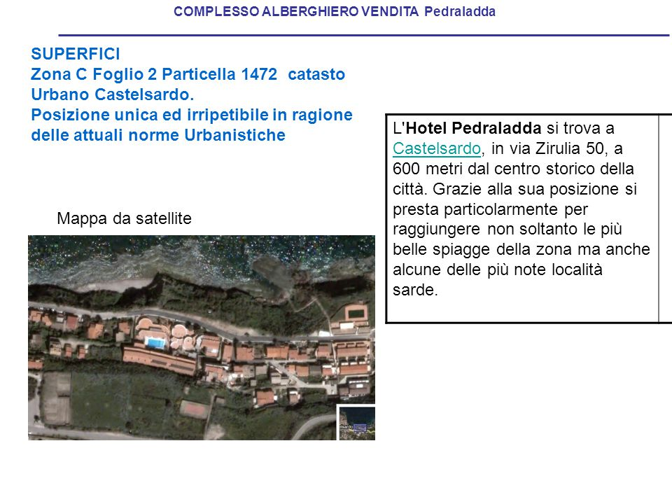 SUPERFICI Zona C Foglio 2 Particella 1472 catasto Urbano Castelsardo.