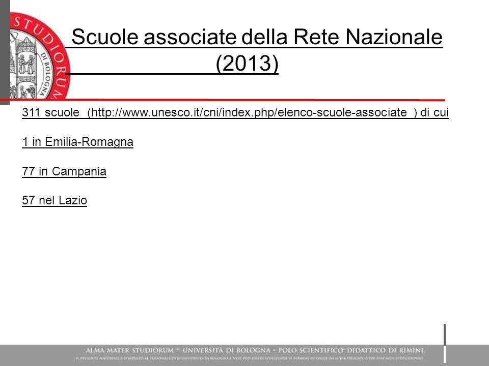 Scuole associate della Rete Nazionale (2013) 311 scuole (http://www.unesco.it/cni/index.php/elenco-scuole-associate ) di cui 1 in Emilia-Romagna 77 in