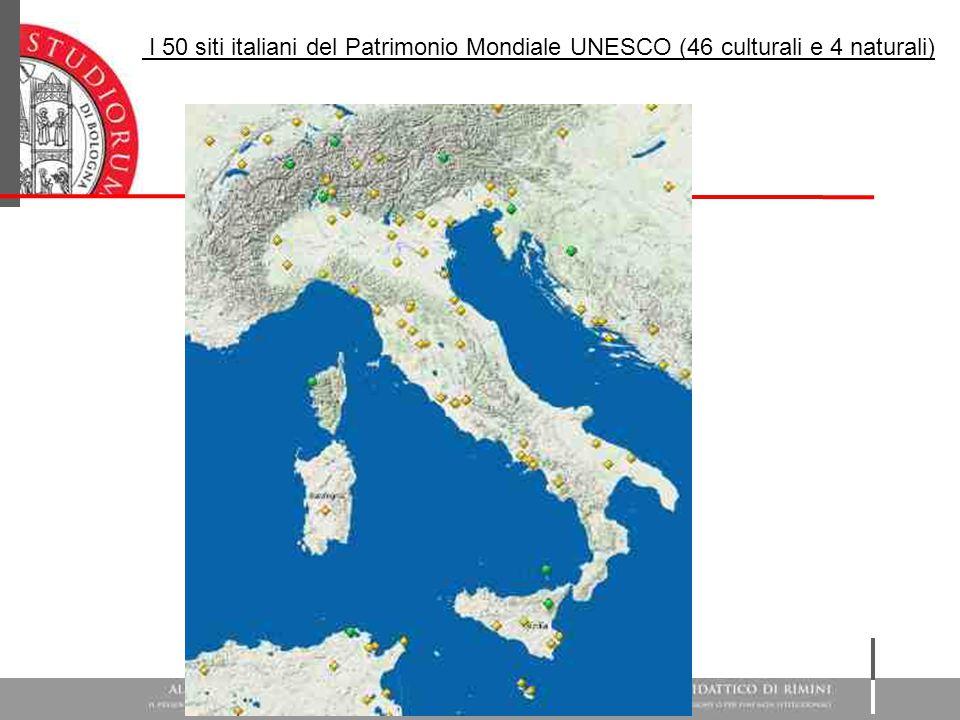 I 50 siti italiani del Patrimonio Mondiale UNESCO (46 culturali e 4 naturali)