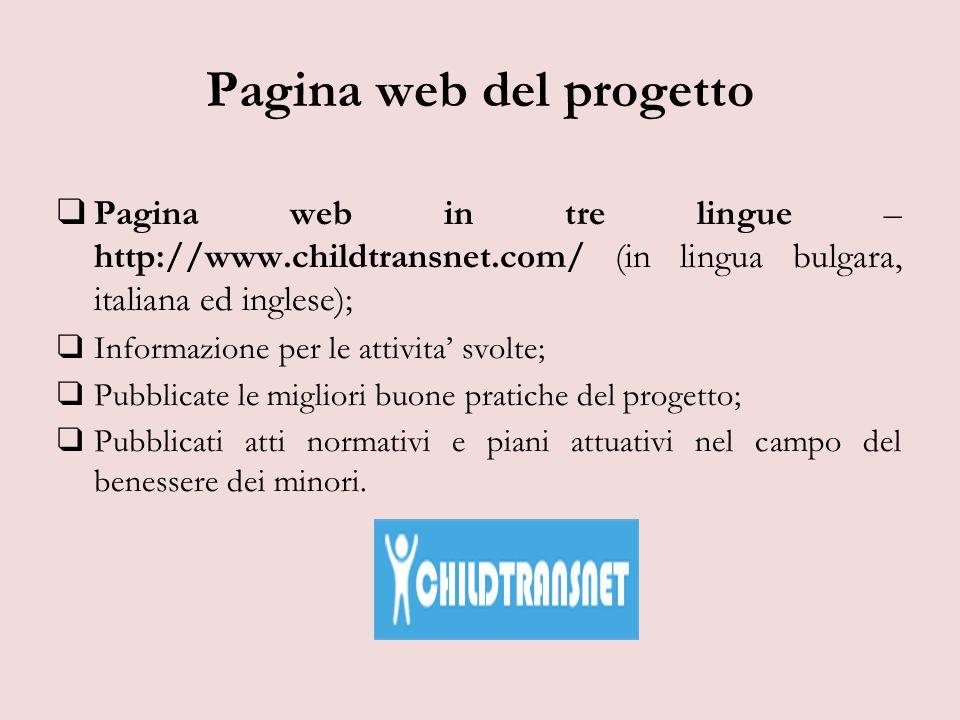 Pagina web del progetto ❑ Pagina web in tre lingue – http://www.childtransnet.com/ (in lingua bulgara, italiana ed inglese); ❑ Informazione per le attivita' svolte; ❑ Pubblicate le migliori buone pratiche del progetto; ❑ Pubblicati atti normativi e piani attuativi nel campo del benessere dei minori.