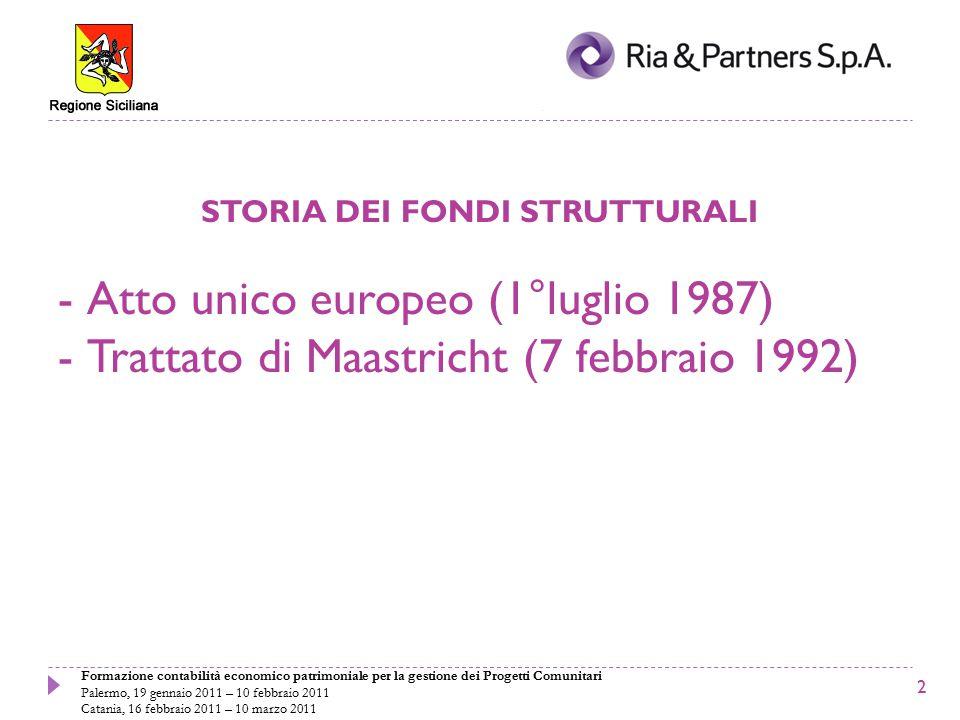 Formazione contabilità economico patrimoniale per la gestione dei Progetti Comunitari Palermo, 19 gennaio 2011 – 10 febbraio 2011 Catania, 16 febbraio 2011 – 10 marzo 2011 STORIA DEI FONDI STRUTTURALI -Atto unico europeo (1°luglio 1987) -Trattato di Maastricht (7 febbraio 1992) 2