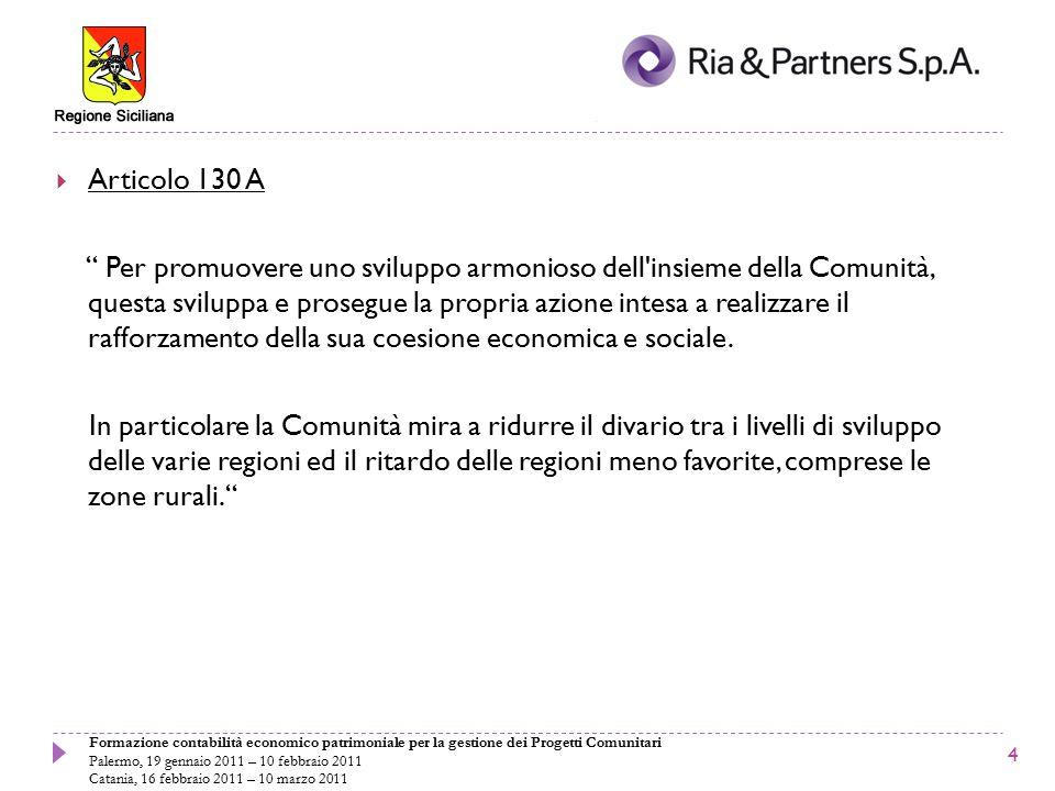 Formazione contabilità economico patrimoniale per la gestione dei Progetti Comunitari Palermo, 19 gennaio 2011 – 10 febbraio 2011 Catania, 16 febbraio 2011 – 10 marzo 2011 UN LUNGO PERCORSO  Prima del 1988: il Trattato di Roma, il FEOGA e il FESR  1988: la politica regionale di coesione e la riforma dei Fondi  1989-1993: Primo periodo di programmazione  1994-1999: Secondo periodo di programmazione  2000-2006: Terzo periodo di programmazione  2007-2013: Quarto periodo di programmazione 5