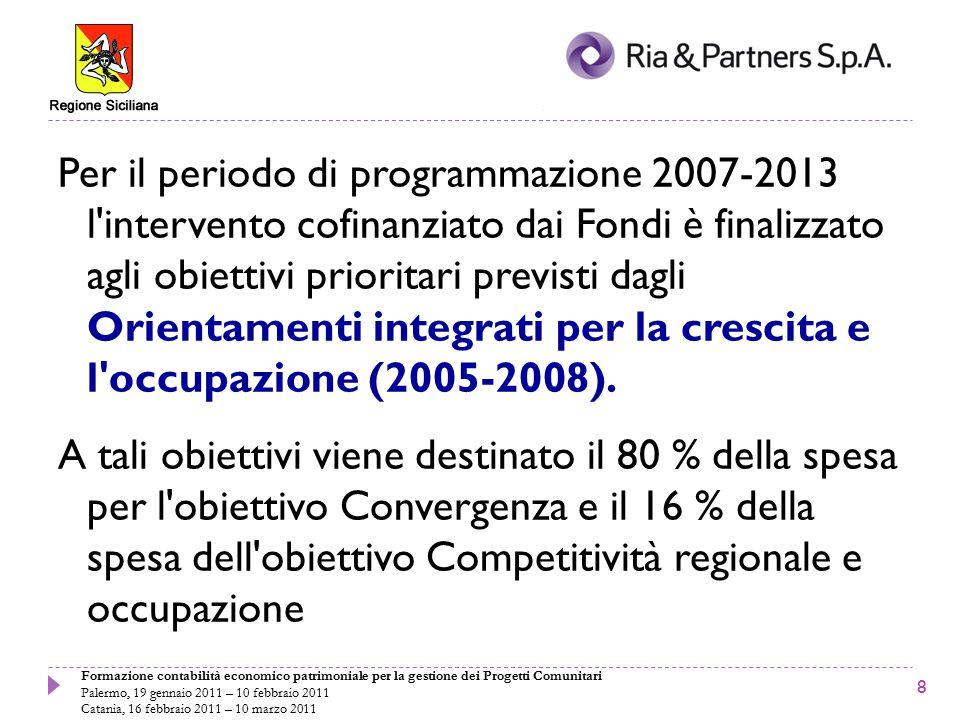 Formazione contabilità economico patrimoniale per la gestione dei Progetti Comunitari Palermo, 19 gennaio 2011 – 10 febbraio 2011 Catania, 16 febbraio 2011 – 10 marzo 2011 2000-20062007-2013 ObiettiviStrumenti finanziariObiettiviStrumenti finanziari CoesioneFdCConvergenzaFdC, FESR, FSE Obiettivo 1FESR, FSE, FEOGA, SFOP Obiettivo 2FESR, FSECompetitività regionale e occupazione FESR, FSE Obiettivo 3FSE Interreg IIIFESRCooperazione territoriale europea FESR Urban II Equal FESR FSE Integrati negli obiettivi Convergenza e Competitività regionale e occupazione FESR, FSE Leader +FEOGA Ristrutturazione del settore della pesca SFOP3 Strumenti 3 Obiettivi 4 Iniziative Comunitarie Fondo di Coesione 5 Strumenti3 Obiettivi