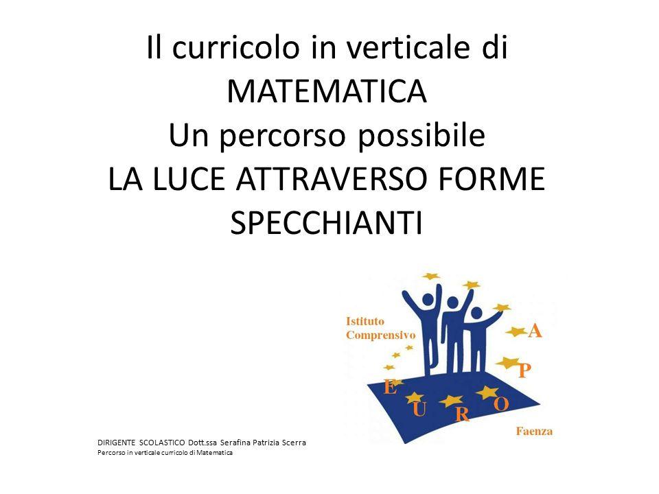 Il curricolo in verticale di MATEMATICA Un percorso possibile LA LUCE ATTRAVERSO FORME SPECCHIANTI DIRIGENTE SCOLASTICO Dott.ssa Serafina Patrizia Sce