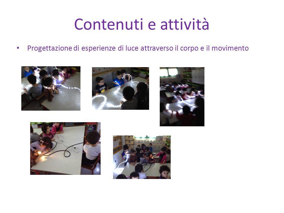 Contenuti e attività Progettazione di esperienze di luce attraverso il corpo e il movimento
