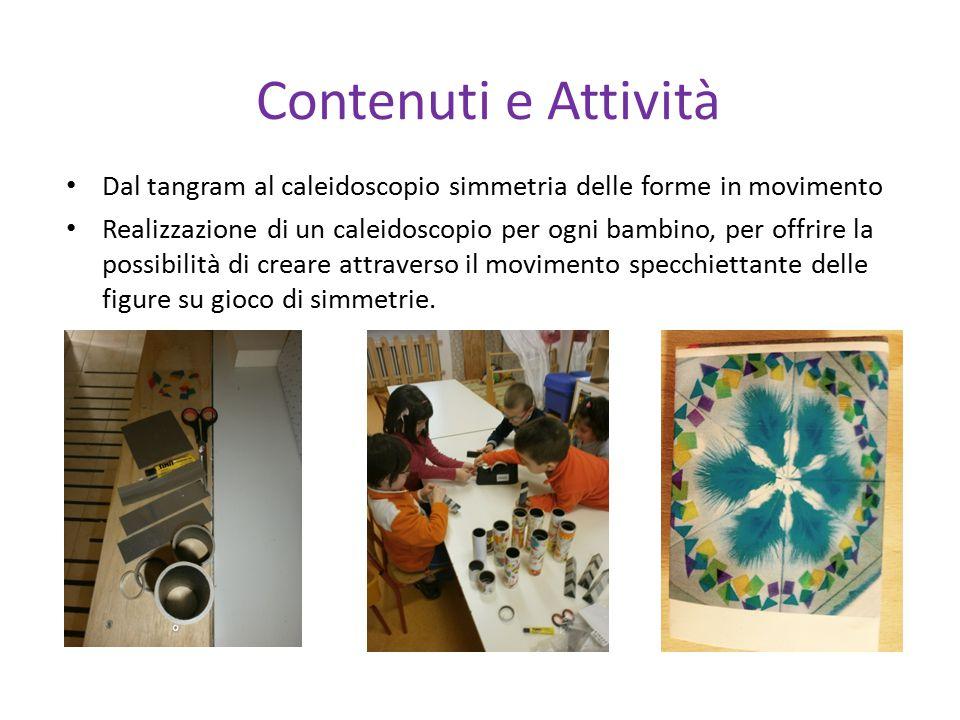 Contenuti e Attività Dal tangram al caleidoscopio simmetria delle forme in movimento Realizzazione di un caleidoscopio per ogni bambino, per offrire l