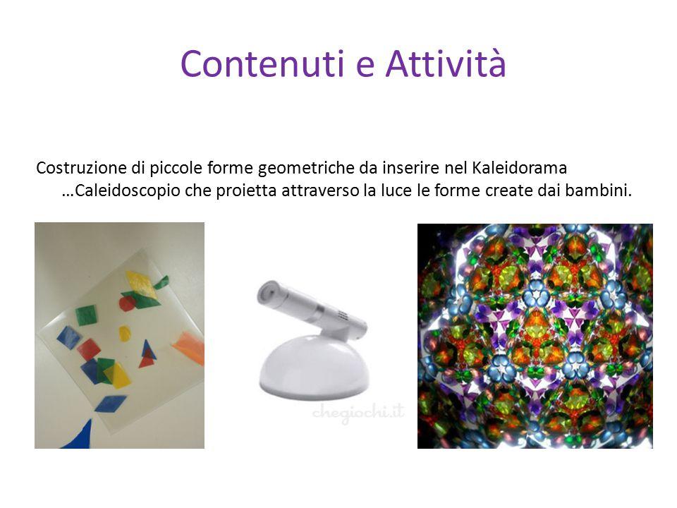 Contenuti e Attività Costruzione di piccole forme geometriche da inserire nel Kaleidorama …Caleidoscopio che proietta attraverso la luce le forme crea
