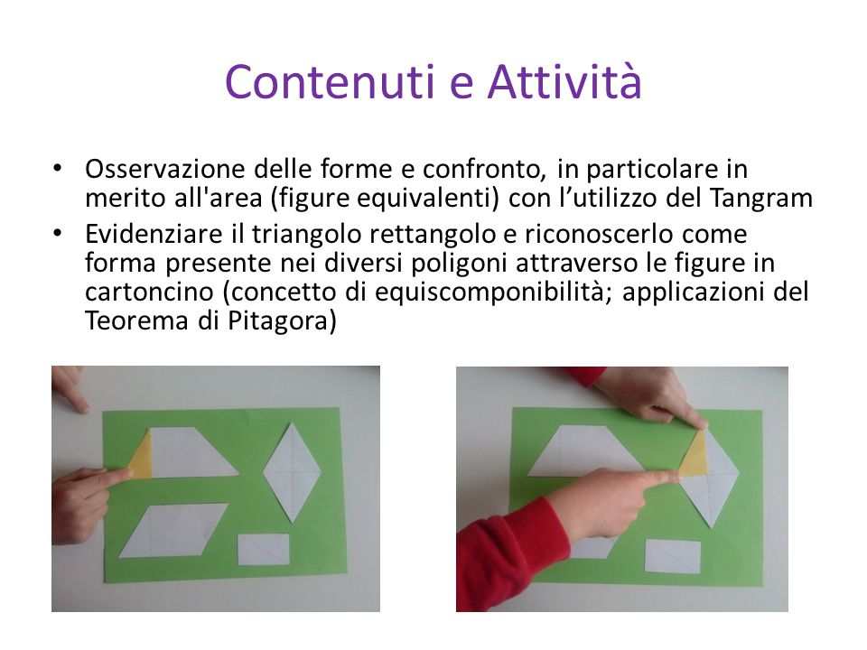 Contenuti e Attività Osservazione delle forme e confronto, in particolare in merito all'area (figure equivalenti) con l'utilizzo del Tangram Evidenzia