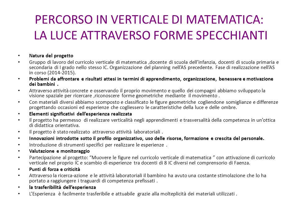 PERCORSO IN VERTICALE DI MATEMATICA: LA LUCE ATTRAVERSO FORME SPECCHIANTI Natura del progetto Gruppo di lavoro del curricolo verticale di matematica,d