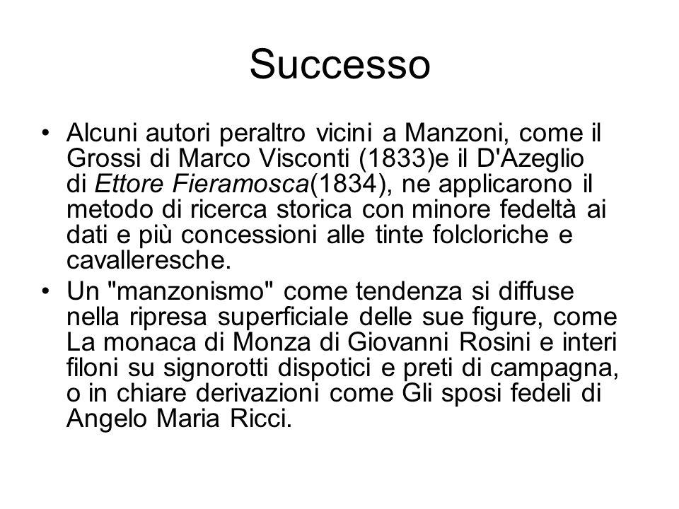 Successo Alcuni autori peraltro vicini a Manzoni, come il Grossi di Marco Visconti (1833)e il D'Azeglio di Ettore Fieramosca(1834), ne applicarono il