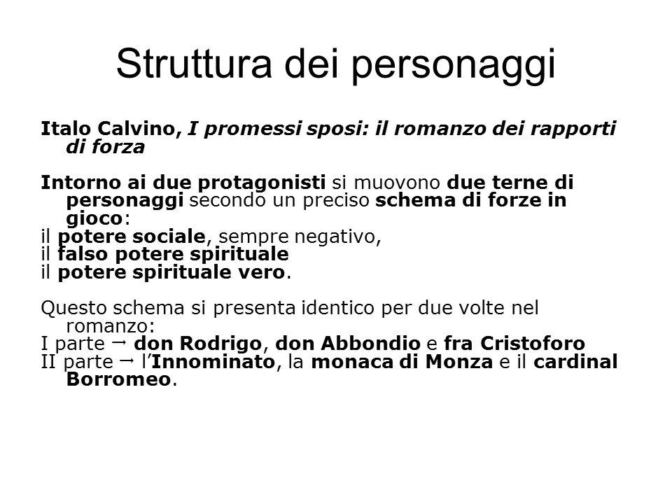 Struttura dei personaggi Italo Calvino, I promessi sposi: il romanzo dei rapporti di forza Intorno ai due protagonisti si muovono due terne di persona