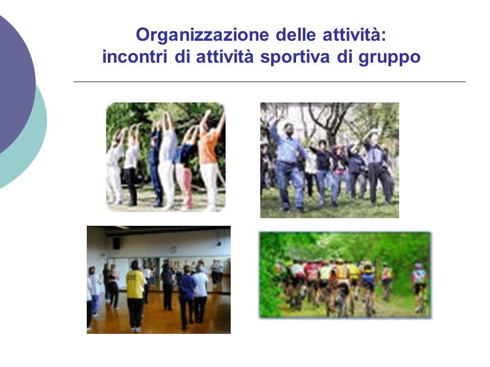 Organizzazione delle attività: incontri di attività sportiva di gruppo