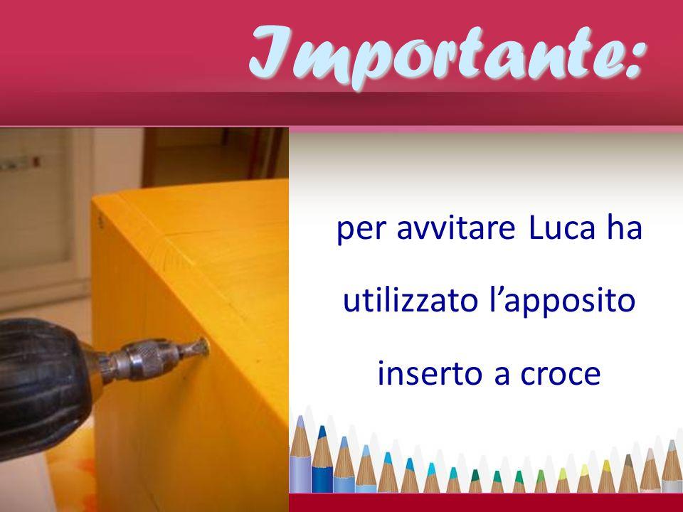 per avvitare Luca ha utilizzato l'apposito inserto a croceImportante: