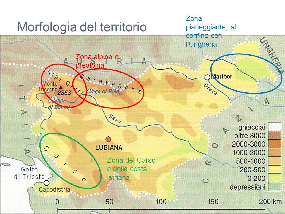 Morfologia del territorio Zona alpina e prealpina Zona del Carso e della costa istriana Zona pianeggiante, al confine con l'Ungheria