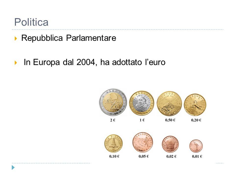 Politica  Repubblica Parlamentare  In Europa dal 2004, ha adottato l'euro