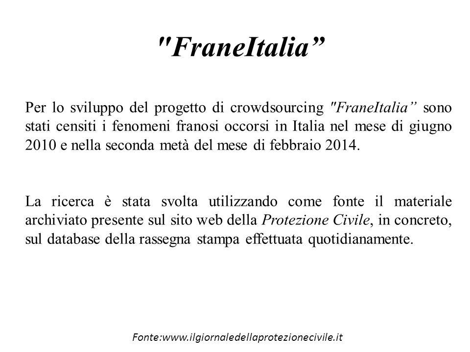 FraneItalia Per lo sviluppo del progetto di crowdsourcing FraneItalia sono stati censiti i fenomeni franosi occorsi in Italia nel mese di giugno 2010 e nella seconda metà del mese di febbraio 2014.