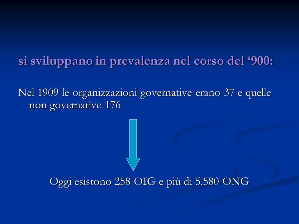 si sviluppano in prevalenza nel corso del '900: Nel 1909 le organizzazioni governative erano 37 e quelle non governative 176 Oggi esistono 258 OIG e più di 5.580 ONG
