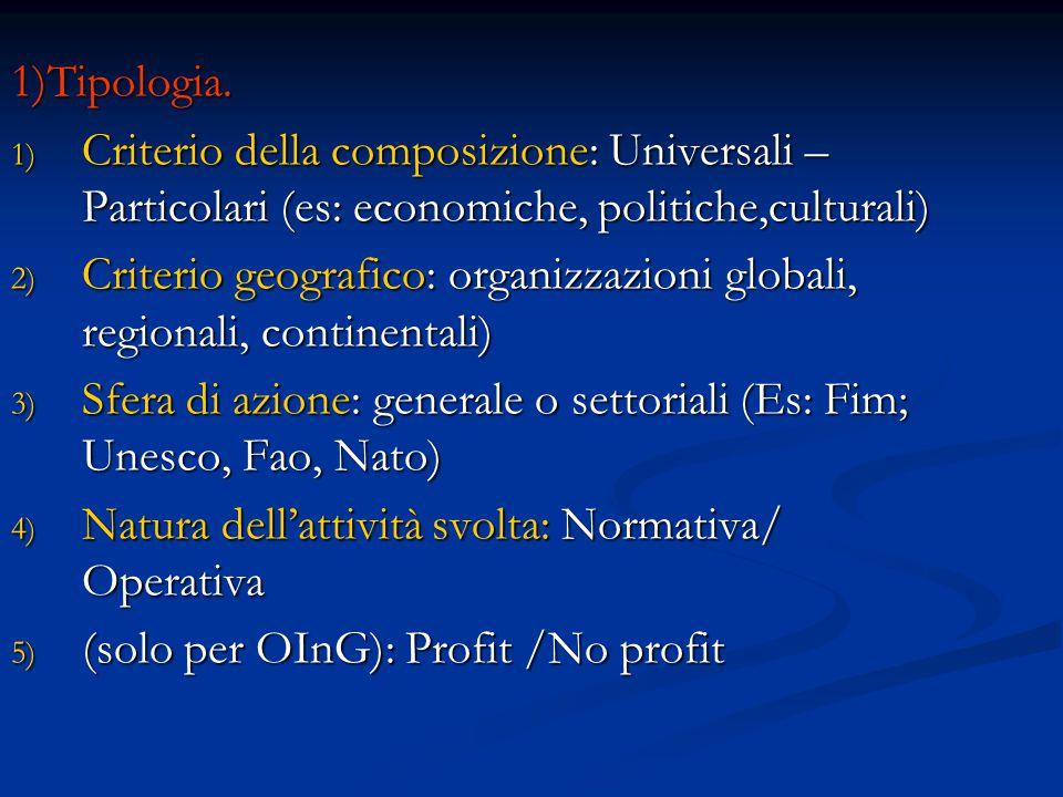 1)Tipologia. 1) Criterio della composizione: Universali – Particolari (es: economiche, politiche,culturali) 2) Criterio geografico: organizzazioni glo