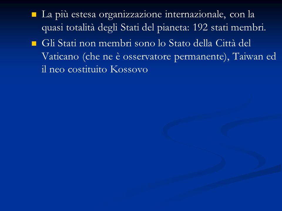 La più estesa organizzazione internazionale, con la quasi totalità degli Stati del pianeta: 192 stati membri.
