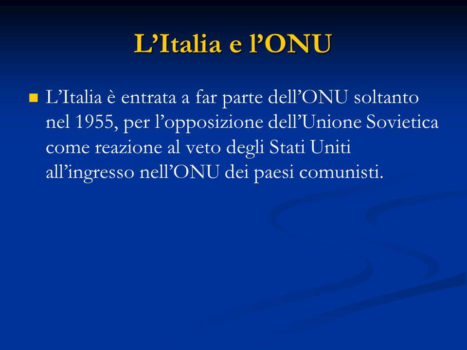 L'Italia e l'ONU L'Italia è entrata a far parte dell'ONU soltanto nel 1955, per l'opposizione dell'Unione Sovietica come reazione al veto degli Stati Uniti all'ingresso nell'ONU dei paesi comunisti.