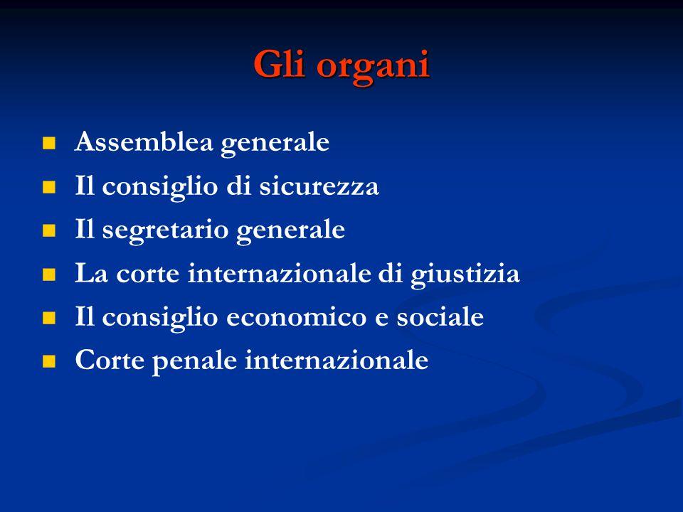Gli organi Assemblea generale Il consiglio di sicurezza Il segretario generale La corte internazionale di giustizia Il consiglio economico e sociale C