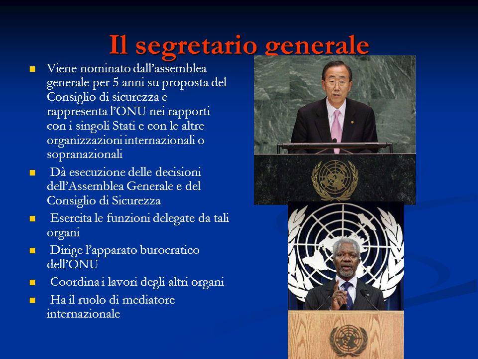 Il segretario generale Viene nominato dall'assemblea generale per 5 anni su proposta del Consiglio di sicurezza e rappresenta l'ONU nei rapporti con i