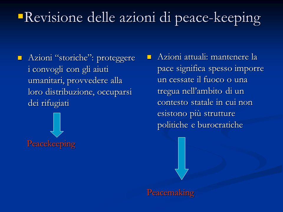 """ Revisione delle azioni di peace-keeping Azioni """"storiche"""": proteggere i convogli con gli aiuti umanitari, provvedere alla loro distribuzione, occupa"""